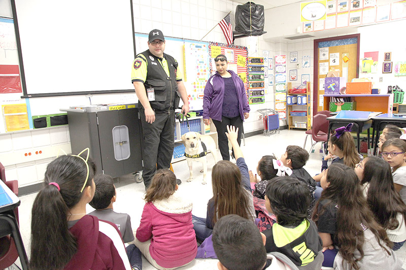K-9 visits with Margo students